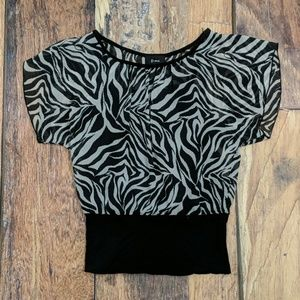 Zebra Top With Attached Black Cami